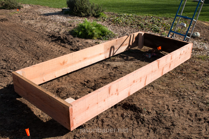 Redwood Raised Bed Framing