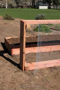 Redwood raised bed screen